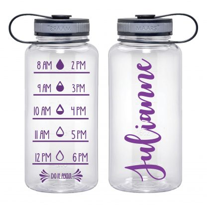 Water Tracker – Custom Name Sports Water Bottle 34 Oz