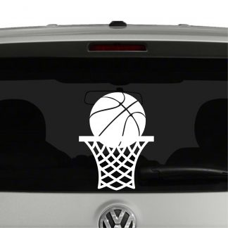 Basketball in Net Vinyl Decal Sticker
