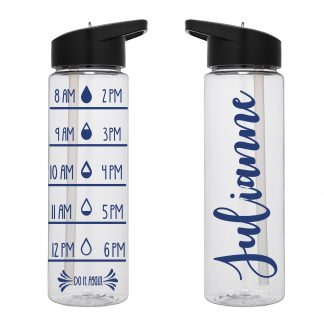 Water Tracker – Custom Name Sports Water Bottle 24 Oz
