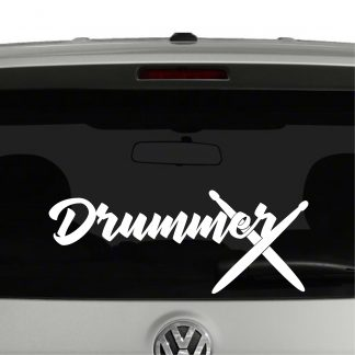 Drummer Marching Band Drum Sticks Vinyl Decal Sticker