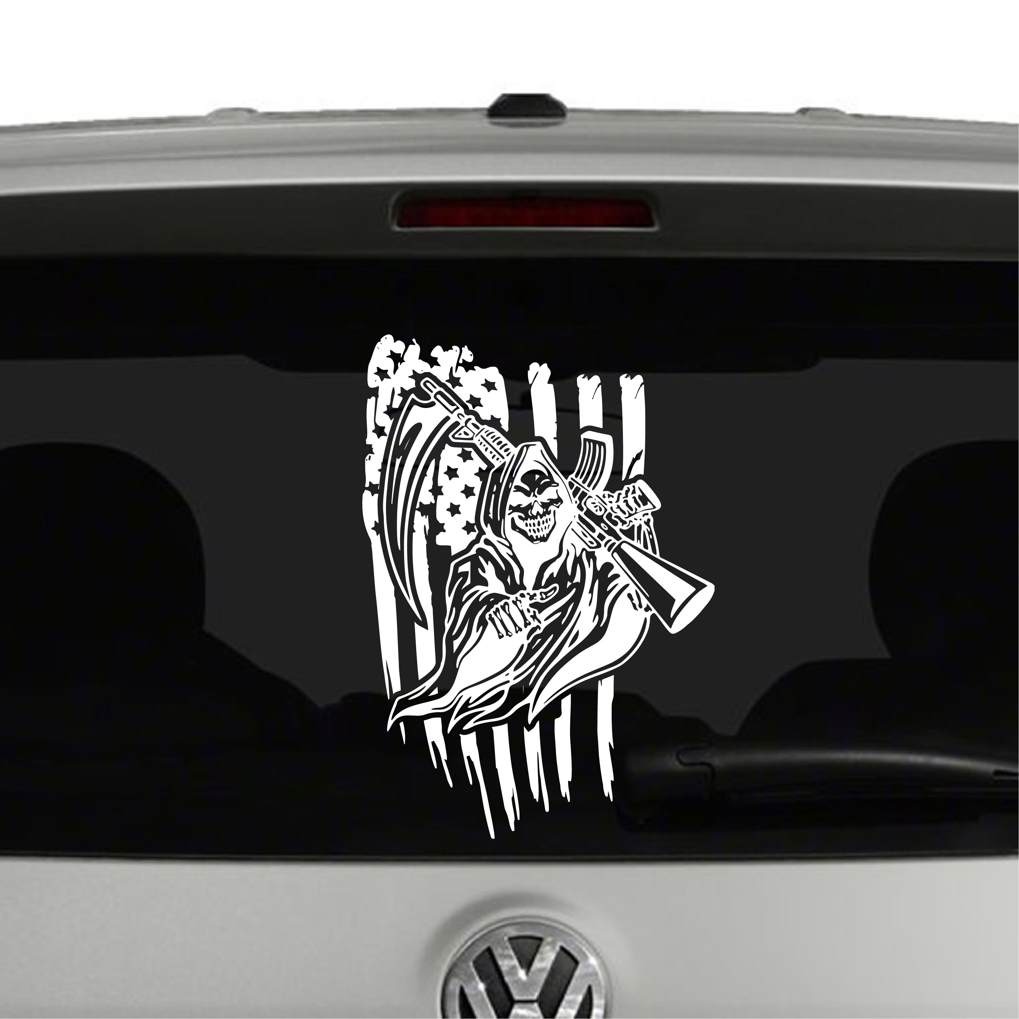 American Flag and Grim Reaper with AR15 Vinyl Decal ...