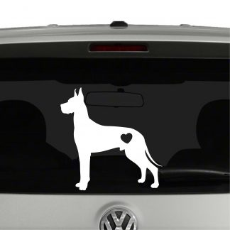 Great Dane Dog Puppy Heart Love Vinyl Decal Sticker