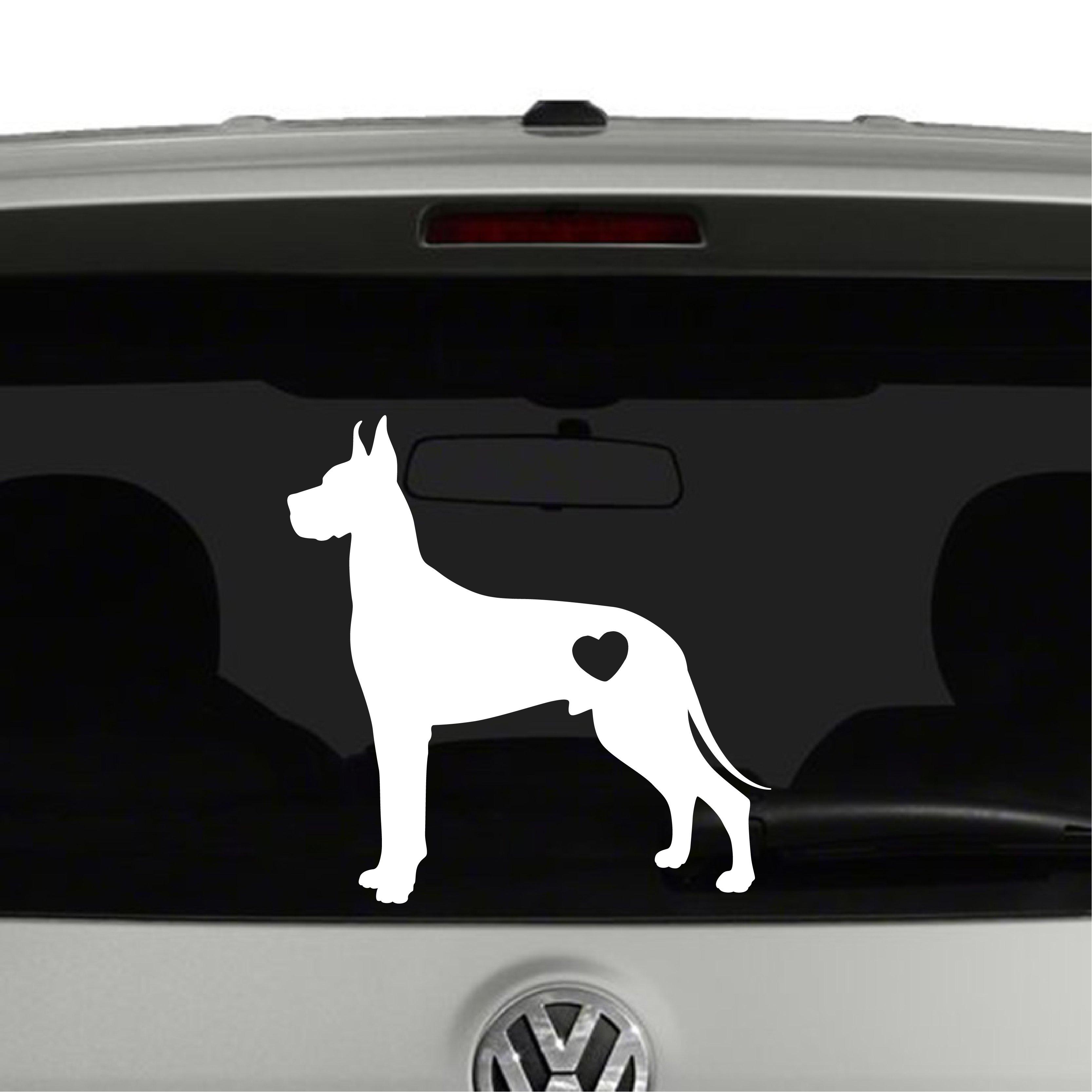 Great Dane Dog Puppy Heart Love Vinyl Decal Sticker