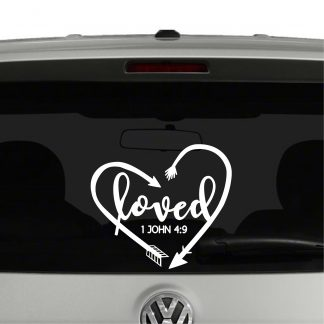 Loved Arrows Heart 1 John 4:9 Vinyl Decal Sticker