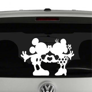 Mickey and Minnie Mouse Heart Hands Nose Kissing Vinyl Decal Sticker Car Window