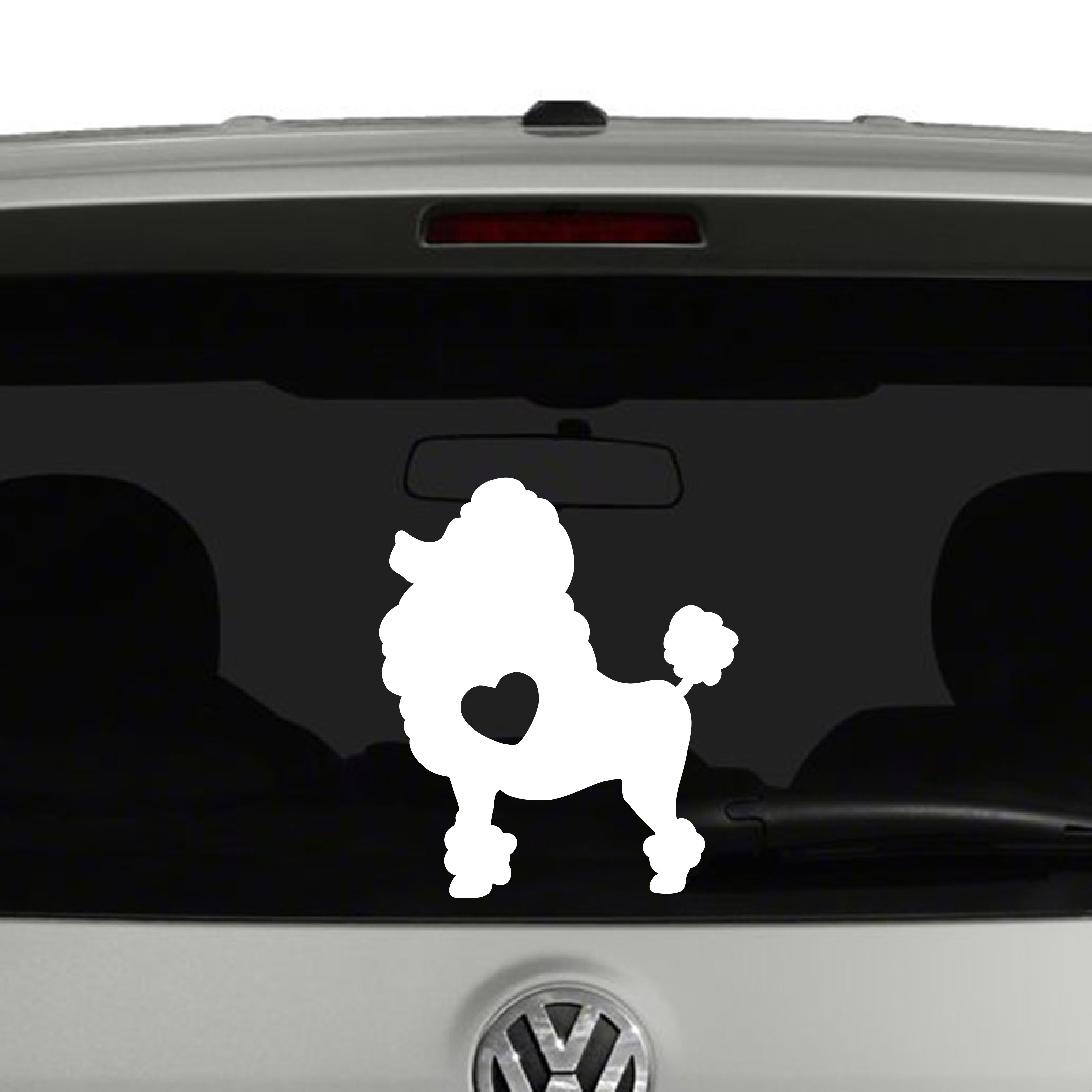 Poodle Dog Puppy Heart Love Vinyl Decal Sticker