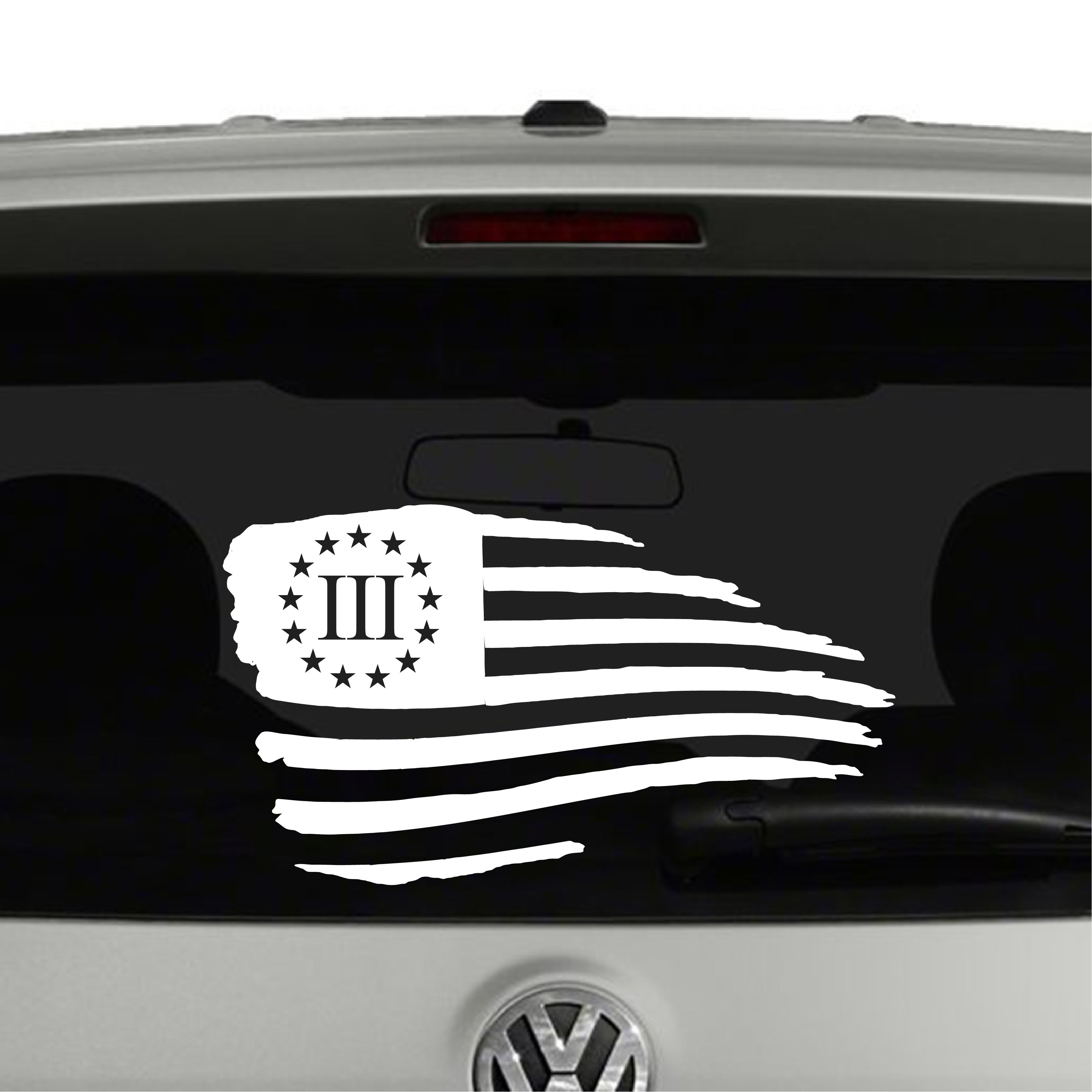 American Flag Waving Distressed 3 Percenter Vinyl Decal Sticker