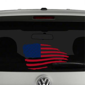 American Flag Waving Distressed 2 Color Vinyl Decal Sticker
