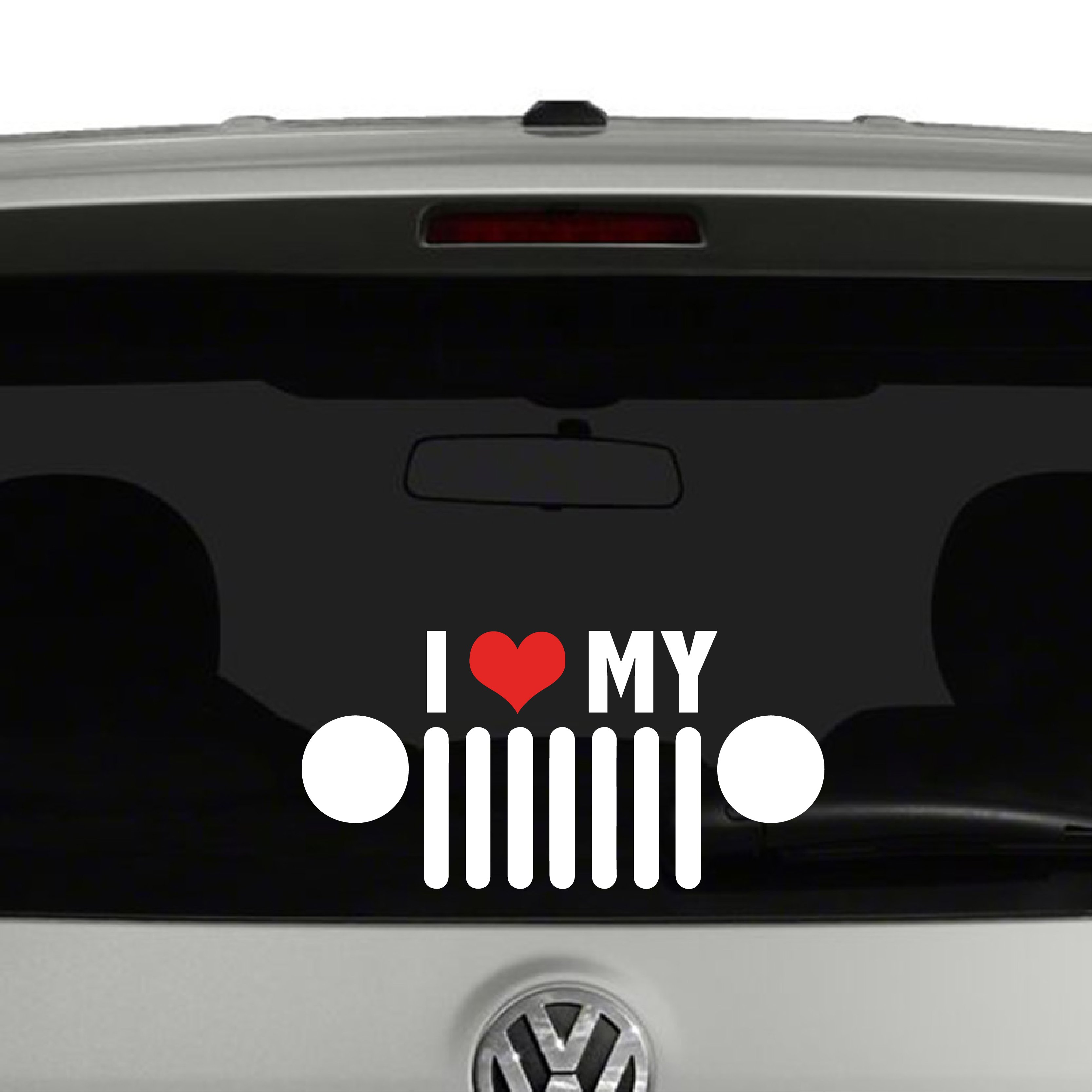 I Love My Jeep Heart Jeep Grill Vinyl Decal Sticker