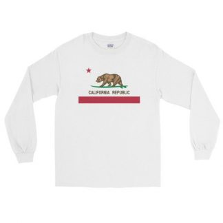 California Republic Surfing Bear State Flag Long Sleeve T-Shirt