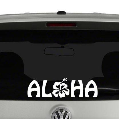 Aloha Hibiscus Flower Hawaiian Vinyl Decal Sticker