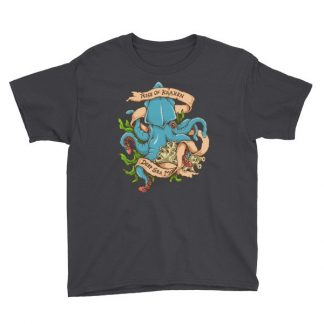 Rise Of Kraken Old School Tattoo Octopus Sea Monster Youth Short Sleeve T-Shirt