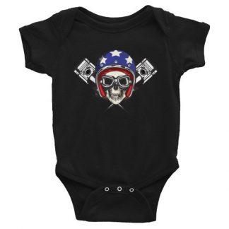 All American Rider Skull Motorcycle Helmet Pistons Infant Bodysuit