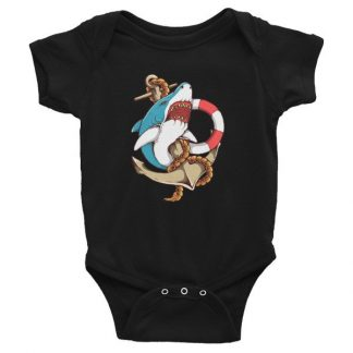 Shark and Anchor Old School Tattoo Sea Life Infant Bodysuit
