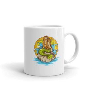 Mermaid Sunset Old School Tattoo Mermaid Sea Life Coffee Mug