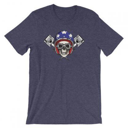 All American Rider Skull Motorcycle Helmet Pistons T-Shirt