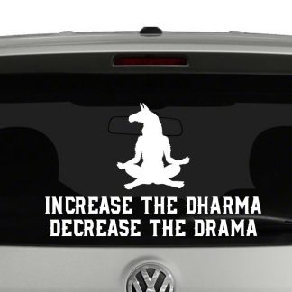 Increase The Dharma Decrease The Drama Meditating Llama Vinyl Decal Sticker