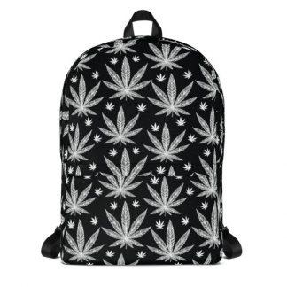 Marijuna Cannabis Pot Leaf Black and White Backpack