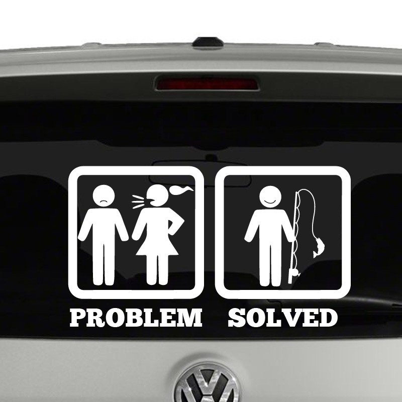 problem solved rather be fishing vinyl decal sticker. Black Bedroom Furniture Sets. Home Design Ideas