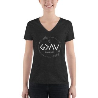 God is Greater Than the Highs and Lows Christian Women's Fashion Deep V-neck Tee