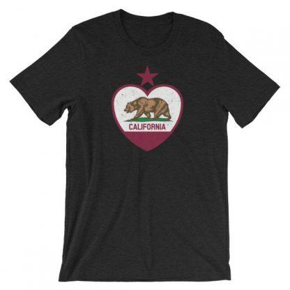 California Republic Heart Shaped Distressed Flag Short-Sleeve Unisex T-Shirt