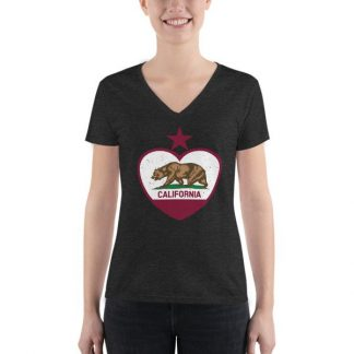 California Republic Heart Shaped Distressed Flag Women's Fashion Deep V-neck Tee
