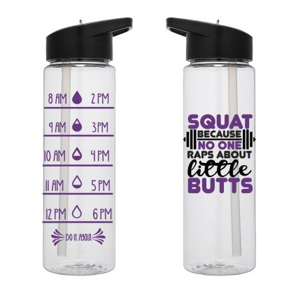 Water Tracker – Squat Because No One Raps About Little Butts Water Bottle 24 Oz