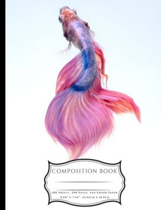 Pink and Blue Chinese Fighting Fish Composition Book