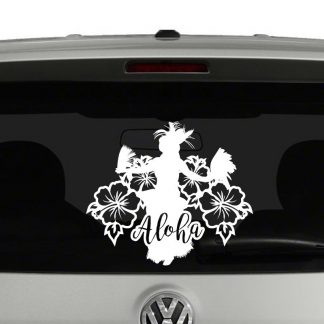Aloha Hawaiian Hula Dancer Hibiscus Flowers Vinyl Decal Sticker