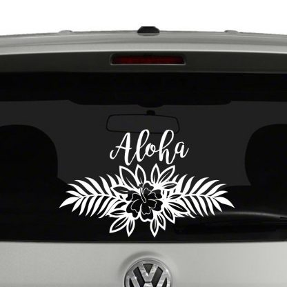 Aloha Hibiscus Flower and Leaves Vinyl Decal Sticker
