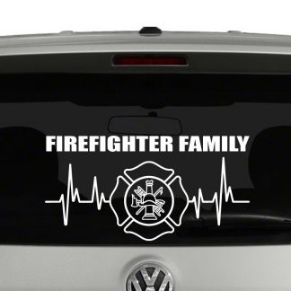 Firefighter Family Heartbeat Maltese Cross Emblem Vinyl Decal Sticker