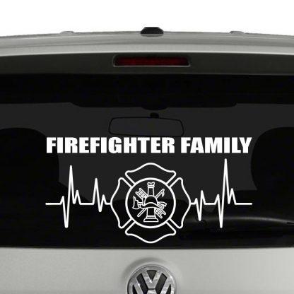 Firefighter Family Heartbeat Maltese Cross Emblem Vinyl Decal Sticker