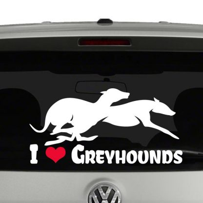 I love Greyhounds Heart Greyhounds Running Silhouette Vinyl Decal Sticker