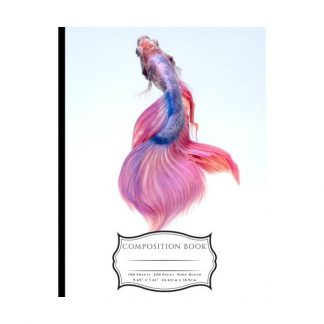 Pink and Blue Chinese Fighting Fish Composition Book: Wide Ruled Lined