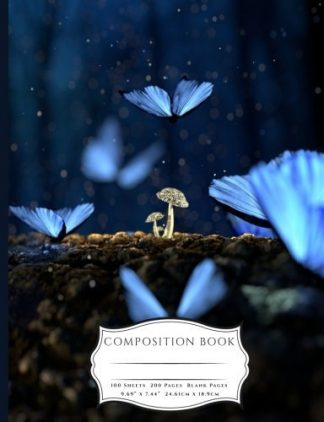 Blue Butterflies and Glowing Mushrooms Fantasy Composition Book