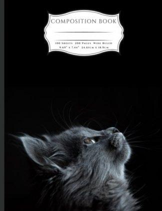 Grey Curious Cat Composition Book