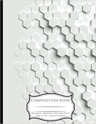 3D Raised Hexagon Grid Pattern Composition Book