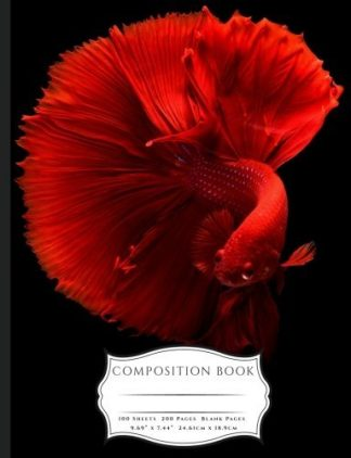Red Chinese Fighting Fish Composition Book