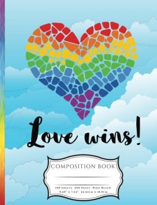 Mossaic Rainbow Heart Love Wins LGBTQ Pride Awarness Composition Book