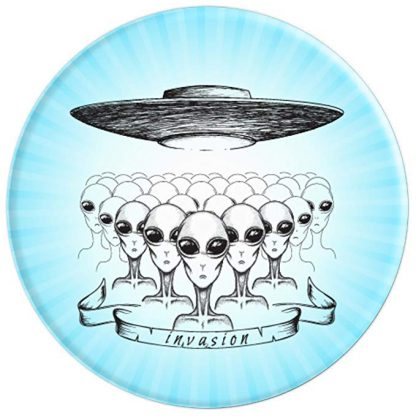 Alien Invasion World UFO Day Grey Aliens Invading - PopSockets Grip