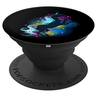 Unicorn Colorful Sparkling Black Unicorn Neon Colors - PopSockets Grip