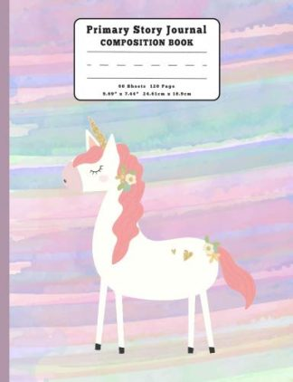 Pastel Unicorn Primary Story Journal Composition Book