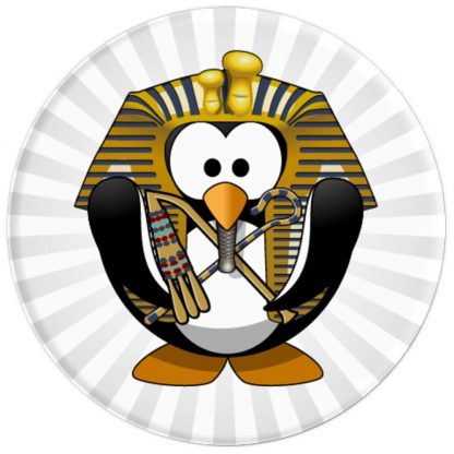 Penguin with Egyptian Headdress Crook and Flail - PopSockets Grip and Stand for Phones and Tablets