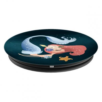 Blue Mermaid Swimming with Starfish - PopSockets Grip