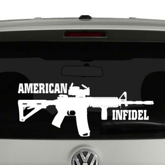American Infidel AR 15 Rifle Vinyl Car Laptop Decal Sticker