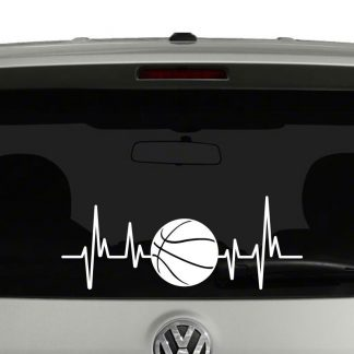 Basketball Heartbeat Basketball Lovers Players Parents Vinyl Decal Sticker