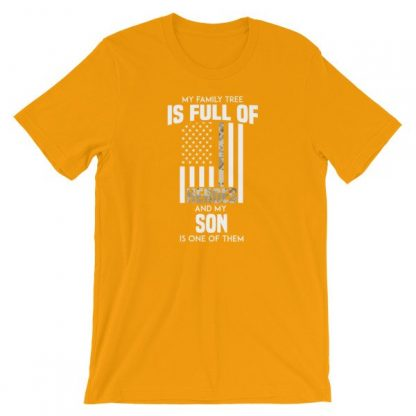 My Family Tree Is Full Of Hero's My Son is One Thin Como Line Short-Sleeve Unisex T-Shirt
