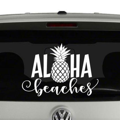 Aloha Beaches With Pineapple Word Play Hawaiian Vinyl Decal Sticker