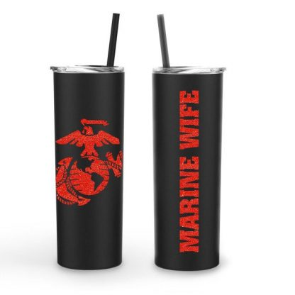 Marine Corp Mom Wife Dad Vinyl Decal Stainless Tumbler 20oz
