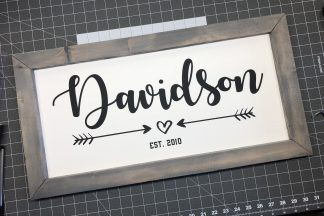 Custom Family Established Wood and Vinyl Sign